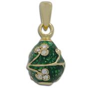 Green Clover Miniature Royal Faberge Egg Pendant Necklace 48cm