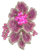 Sindary 9cm Gorgeous Flower Brooch Pin Bouquet Gold-Tone Pink Rhinestone Crystal BZ6595