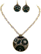 Fashion Jewellery ~ Green Geometric Design Necklace and Earring Set