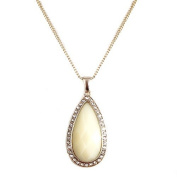Fashion Teardrop Cream Colour Cut Stone With Rhinestone Gold Necklace Women's Girl's Gift For Her