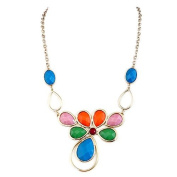 Fashion Multi Cut Glass Crystal Flower Gold Necklace Women's Girl's Gift For Her