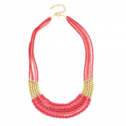 Fashion Gold-Tone Coral & Red Bead Necklace Women's Girl's Gift For Her