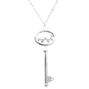 Fashion Silver Pave Polka Dot Key Necklace Women's Girl's Gift For Her