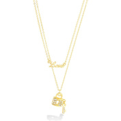 Fashion Gold Double Rows Chain With Little Lock & Love Pendant Necklace Women's Girl's Gift For Her