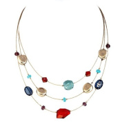 Fashion Gold Multi Colour Mixed Cut Beads Three-Strand Illusion Necklace Women's Girl's Gift For Her