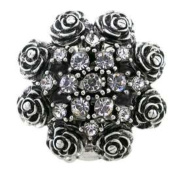 Azzaria...Antique Black & Crystal Flower Ring…Elasticated Adjustable Band…Diameter