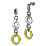 Amello stainless steel Drop Post earring, oval white and yellow enamelled, original Amello ESOG01Y