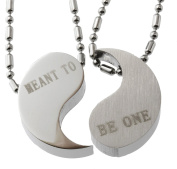 R.h. Jewellery Men Women Lovers Couple Stainless Steel Pendant Necklace Set Meant to Be One Yin Yang