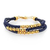 ELYA Gold IP Triple Strand Stainless Steel Beaded Bracelet - 20cm