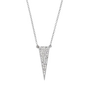 Sterling Silver 925 Geometric Triangle CZ Adjustable Pendant Necklace 41cm - 46cm - The Royal Gift