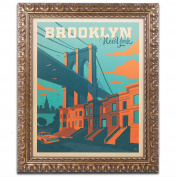 Trademark Fine Art Brooklyn Canvas Artwork by Anderson Design Group, 28cm by 36cm , Gold Ornate Frame