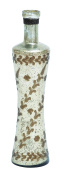 Glass Bottle Accented with Light Brown and White Pattern