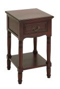 Wood Accent Table in Brown Finish with Glossy Lacquer