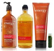 Bath & Body Works Aromatherapy Energy Orange Ginger Body Lotion 6.5 fl.oz/192 mL, Body Wash & Foam Bath 10 fl.oz/295 mL & Body Cream 8 oz/226g with a Jarosa Bee Organic Peppermint Lip Balm