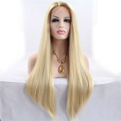 Natural mix blonde straight synthetic lace front wigs for women heat resistant fibre silk long hair