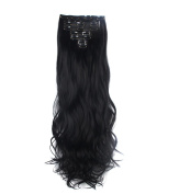 FIRSTLIKE 160g 60cm Dark Black Curly Double Weft Clip In Hair Extensions Thicker Full Head Straight Curly 7 Pieces 16 Clips Colourful Smooth Silky For Women Beauty