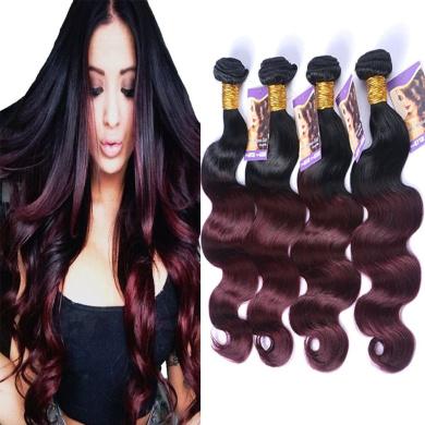 Kapelli Hair (TM) Ombre Hair Extensions Ombre Brazilian Body Wave Virgin Hair 2 Tone T1B/99J Black to Burgundy Human Hair Weave 4 Bundles (46cm 50cm 60cm 60cm )