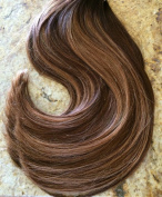 Moresoo 60cm Straight Remy Human Hair Colourful Two Tone Hair Chocolate Brown Highlighted with Caramel Blonde Clip In Human Hair Extensions Full Head 120 Grammes