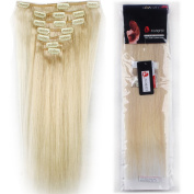 US Stock 46cm 70g Platinum Blonde 100% Real Natural Full Head Set Clip in 100% Remy Human Hair Extensions Top Grade 7A For Woman Beauty 7Piece 15Clips