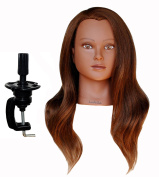 Ladella Beauty 60cm - 70cm Cosmetology (Heavy Density) Ethnic 100 %Human Hair Mannequin Manikin Training Head with clamp - Sabina