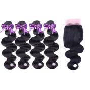 IUEENLY 3 Bundles Peruvian Body Wave With 1 Pcs 4x4 Lace Closure 100% Human Hair Weave Bundles Natural Black 1B