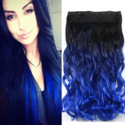 Neverland Beauty 60cm Synthetic Curly Two Tone Ombre Hairpiece Hair Extensions 3/4 Full Head Clip Black to Blue