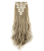 FIRSTLIKE 60cm 175g Curly Ash Blonde Double Weft Clip In Hair Extensions Thick Full Head Long 8 Pieces 18 Clips Soft Silky Dress For Girls Beauty