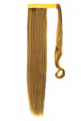 FIRSTLIKE 60cm Straight Ginger Blonde Wrap Around Ponytail Clip in Hair Extensions Long Hairpiece Colours For Ladies Beauty
