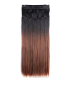 FIRSTLIKE 70cm Straight Black To Auburn Clip In Hair Extensions Thick 3/4 Full Head Long One Piece 5 clips Soft Silky For Women Ladies Beauty