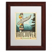 Trademark Fine Art Vancouver Canada Canvas Artwork by Anderson Design Group, 28cm by 36cm , White Matte with Wood Frame