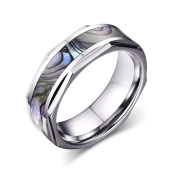 Xiangling Jewellery 8MM Comfort Fit Tungsten Carbide Ring Wedding Band | Engagement Ring with Abalone Shell Inlay with Bevelled Edges