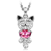 "J.NINA ""Luck Cat"" Cute Animal Shaped Design Women Jewellery, Made with Pink Crystals Pendant Necklace"