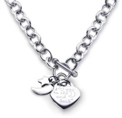 Heart Toggle Necklace I Love You to the Moon and Back Charm Stainless Steel 46cm