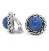Braided Rope Blue Resin Antique Style Round Clip on Earrings