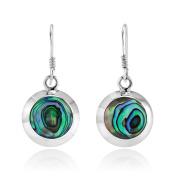 925 Sterling Silver Round Abalone Shell Dangle Hook Earrings for Women