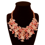 Fashion Stunning Style Pure Fresh and Candy Colour Crystal Gem Flower Necklace Collar Bib for Women