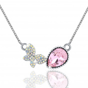 Osiana Butterfly Pendant Fashion Cute Necklace Crystal From Elements 46cm