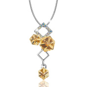 "Osiana ""Ice Cube""18K White Gold Plated Fashion Pendant Necklace Made With Crystal 46cm"