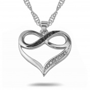 Infinity Fovever Love Heart Figure Eight Black White Crystal Pendant Necklace
