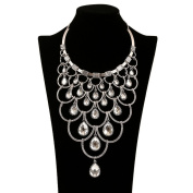 Fashion Metal Style Multi-level Crystal CZ Charm Necklace Collar Bib for Women