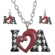 I Heart A Houndstooth Print Love Silver Tone Necklace & Earrings Set Alabama Roll Tide Pride