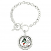 Floating Charms Glass Cover Circular Locket Bracelet, 7.5+.13cm Ext.