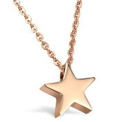 KnSam Women Stainless Steel Pendant Necklace Rose Gold Star [Novelty Necklace]