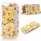 iPhone 7 Case Cover,TechCode Flower Pattern TPU Flip Screen Protective with Cards Slots Card Holder Plastic Case for Apple iPhone 7