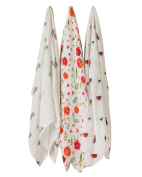 Little Unicorn Cotton Muslin Swaddle - Summer Poppy Set - 3 Pk