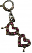 Double hearts Double Love Pink Hearts charm