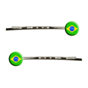 Graphics and More Brazil Flag Bobby Pins Barrettes Hair Styling Clips