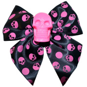 Kreepsville 666 Black Pink Skull Collection Hair Bow Clip