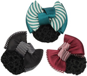 LiveZone (Pack of 3 Pcs) Women Professional Hair Bun Cover Net Snood Hairnet Bowknot Decor Barrette Hair Clip Bow Lace Flower Hair Accessories ,3 Colours-Green Red & Black