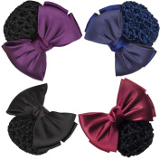 LiveZone (Pack of 4 Pcs) Women Professional Hair Bun Cover Net Snood Hairnet Bowknot Decor Barrette Hair Clip Bow Lace Flower Hair Accessories ,4 Colours-Black Purple Blue and Red